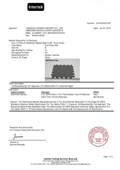 Chine Qingdao Hongde New Material Co., Ltd Certifications
